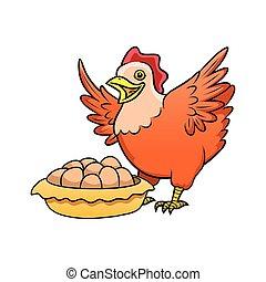 gallina, con, nido, huevos