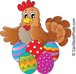 gallina, con, vario, uova pasqua