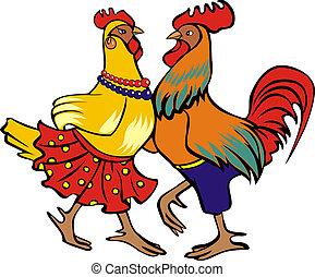 gallina, gallo, bailando