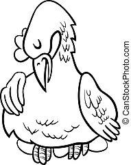 gallina, su, uova, carattere, cartone animato, libro colorante