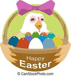 gallina, tenencia, cesta, con, huevos de pascua