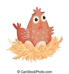 gallina, vector, ilustración, huevos, aislado, sentado, fondo blanco