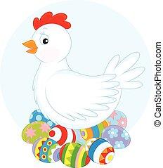 gallina, y, huevos de pascua