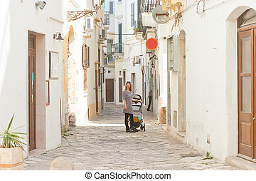 gallipoli, kopfstein, alleyways, gallipoli, -, mitte, apulia, antikisiert