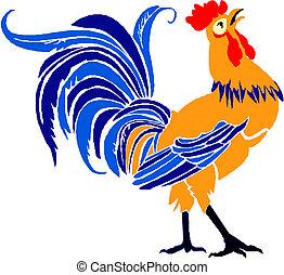 gallo, aislado, ilustración