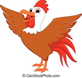 gallo, cartone animato, carino