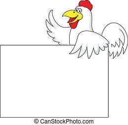 gallo, cartone, con, segno bianco