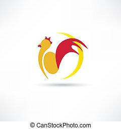 gallo, despierta, arriba, en, el, mañana, icono