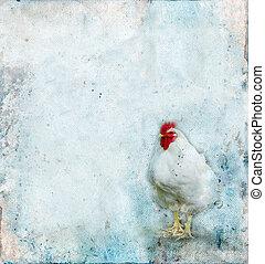 gallo, en, un, grunge, plano de fondo