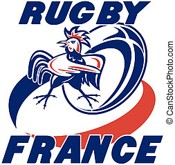 gallo, galletto, palla, rugby, francia