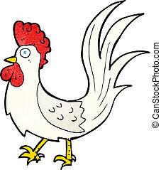 gallo joven, caricatura