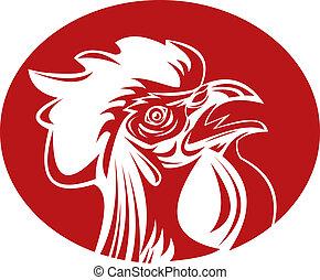 gallo joven, crowing, gallo