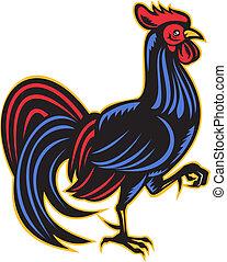 gallo joven, gallo, lado, woodcut, marchar