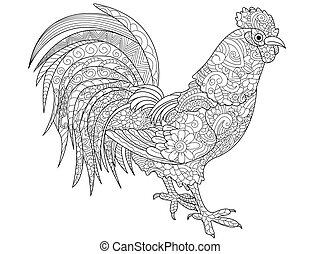 gallo, libro colorear, vector, para, adultos