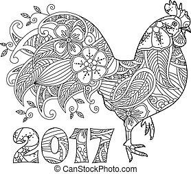 gallo, o, 2017, número, gallo, elegante
