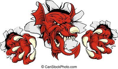 gallois, dragon, casser, rouges, dehors