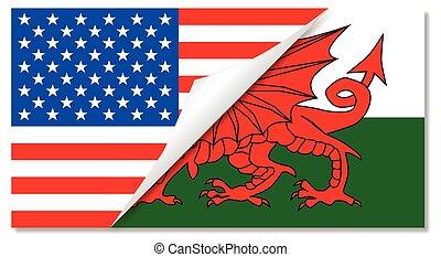 gallois, etats, uni, drapeaux, combiné