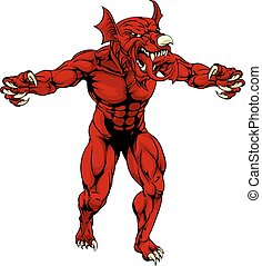 gallois, rouges, dragon, effrayant