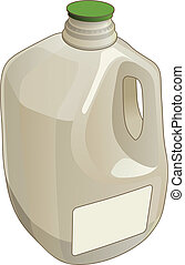 Illustration of a gallon jug used as a container for milk and other liquids.