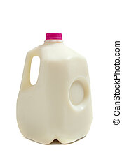 Gallon jug of milk - a gallon jug of milk on a white...
