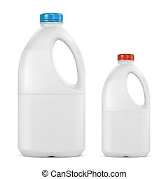 gallon milk bottle plastic containers on white background