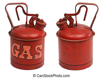 red one gallon metal gas can shot from front and back and isolated on white with clipping path