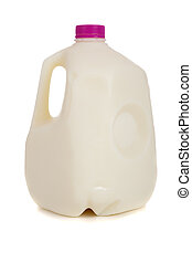 Gallon of Milk - A gallon of non-fat milk on a white...