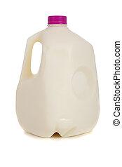 A gallon of non-fat milk on a white background