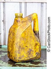 gallon, olaj, öreg, koszos