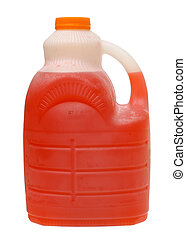 Gallon plastic Jug of a fruit juice, fruit punch drink mix isolated on white