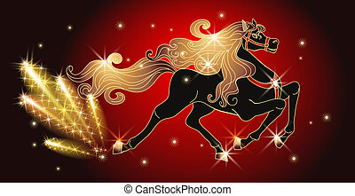 Galloping black horse with golden mane - Galloping black...