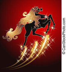 Galloping black horse with golden mane on red background