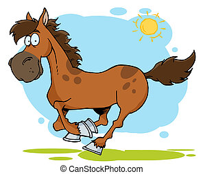 Galloping Cartoon Horse - Happy Brown Galloping Horse...