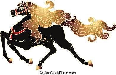 galloping, cavalo, com, um, ouro, mane