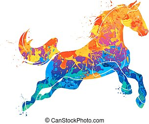 Abstract galloping horse from splash of watercolors. Vector illustration of paints.