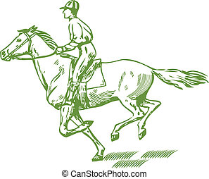 Galloping horse - Graphic drawing of jockey on a horse,...