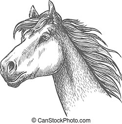 Galloping horse of andalusian breed sketch symbol - Sketch...