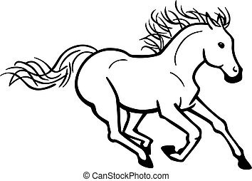 vector line drawing a horse galloping towards the viewer
