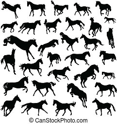 Collection of silhouettes of galloping horses. 32 pieces