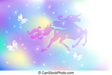 Galloping unicorn with luxurious mane against the background of the iridescent universe with sparkling stars