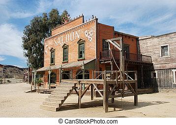 gallow, e, taverna, em, um, antigas, americano, cidade ocidental