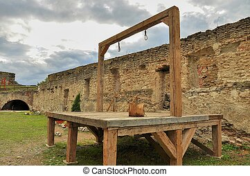 Gallows and execution platform in medieval fortress