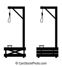 gallows set in black color illustration on white