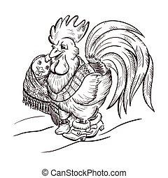 galo, e, galinha