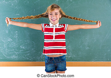 galonerad, student, blond, flicka, leka, med, flätor