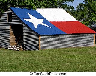 galpão, com, bandeira texas