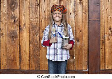 galpão, madeira, quadro, menina, feliz