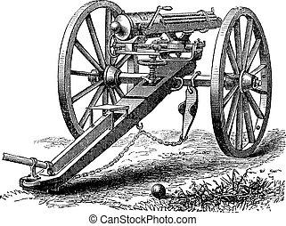 Galting gun vintage engraving. Old engraved illustration of ...