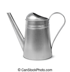 Galvanised watering can - Classic galvanised metal retro...