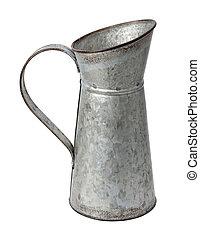 galvanizado, jarro, isolado, branco